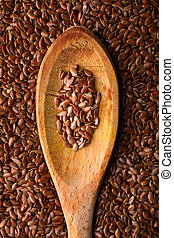 Flaxseed on Wooden Spoon - Close-Up of Flaxseed on Wooden ...