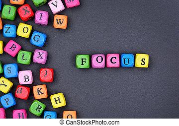 Focus word on black background