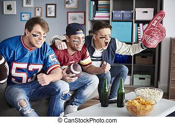 Close up of football avid fans