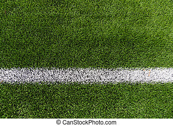 close up of football field with line and grass - sport and...