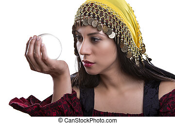 Close up of Fortune Teller and Crystal Ball - Close up of ...