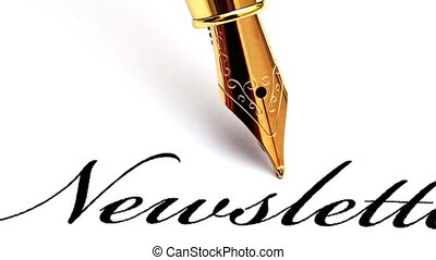 Close up of fountain pen on newsletter text