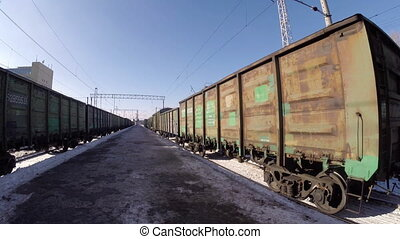 Close-up of freight trains at the station