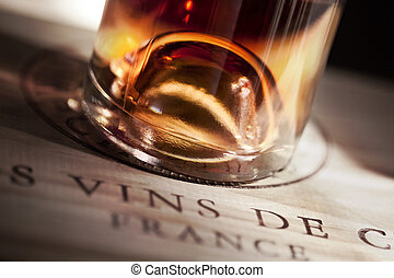 French Rose wine - Close up of French Rose wine on a wooden...