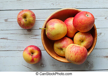 Close up of fresh apple in a plate
