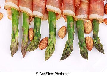 Close up of fresh asparagus salad.