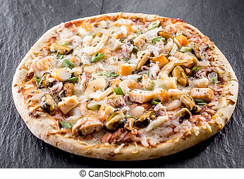 Baked Seafood Pizza Topped with Fresh Ingredients