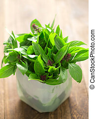 close up of fresh basil leaves on kitchen table