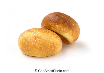 close up of fresh buns on white background