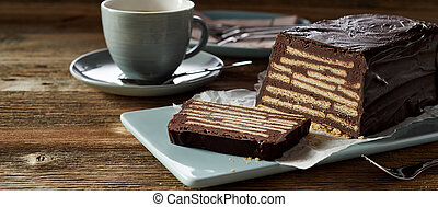 Close-up of fresh cake and coffee