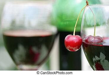 fresh cherry and red wine