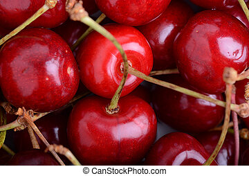 Close up of fresh cherry berries. food concept