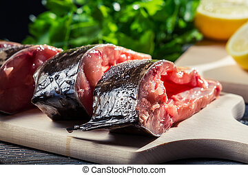 Close-up of fresh fish preparation for frying