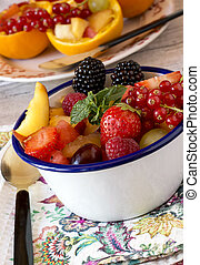 Close-up of fresh fruit and different berries in bowl