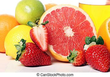 Close up of fresh fruits