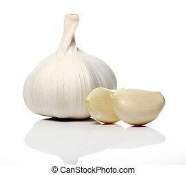 Close up of fresh garlic over white background