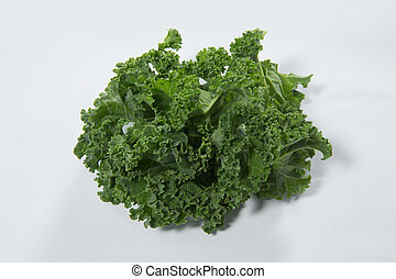 Close up of fresh green kale leaves