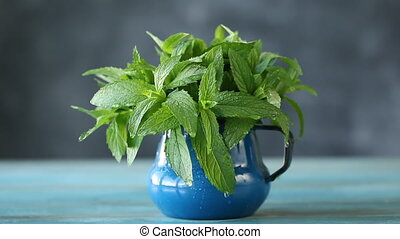 Close up of fresh mint with water drops, healthy herb on black background