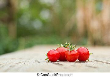 Close-up of fresh, ripe tomatoes on wood background.