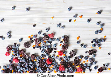 Close up of frozen mixed berries.