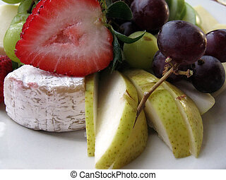 Close-up of Fruit and Cheese Plate