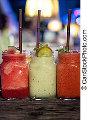 Close up of fruit watermelon smoothies and Kiwi smoothies