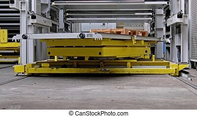 Close-up of fully automated warehouse system moving