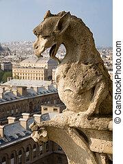 Close-up of gargoyle on the top of Notre-Dame de Paris
