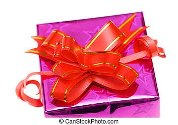Close up of giftbox isolated on white