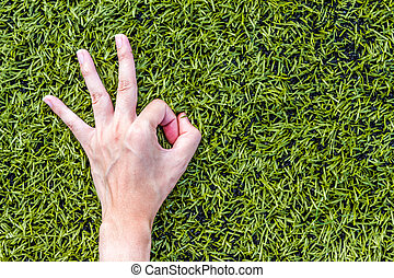 Close-up of Girl hand okey on green grass background