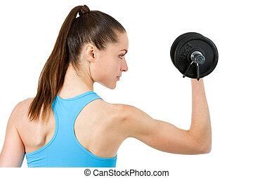 Close up of girl lifting weight.