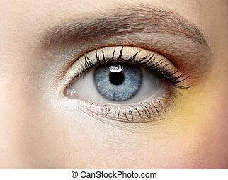 close-up of girl's eye zone make-up