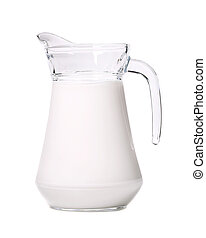 Close up of glass carafe with milk.