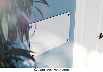Close up of glass nameplate on light blue wall. 3d rendering.