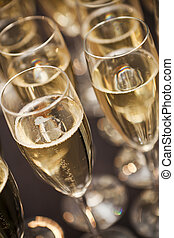 Sparkling Champagne - Close up of glasses with Sparkling...