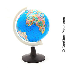 close up of globe on white background with clipping path