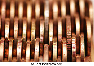 Close up of gold coins - shallow depth of field