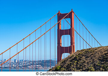 Close up of Golden Gate in San Francisco.