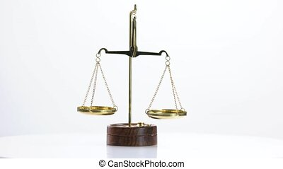Close up of golden scales on white background. Scales of justice isolated on white background. Law concept.