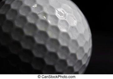 Close up of Golf ball on black