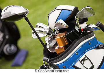 Close up of Golf clubs in a bag