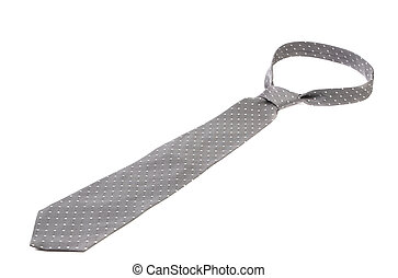 Close up of gray man's tie. Isolated on a white background.