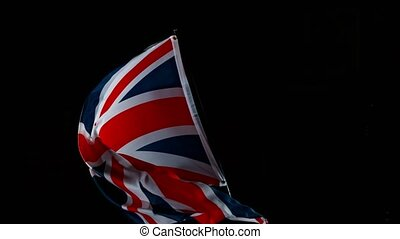 Close up of Great Britain Flag Waving. GB Banner Flaping in Wind. Super Slow Motion at 1000 fps.
