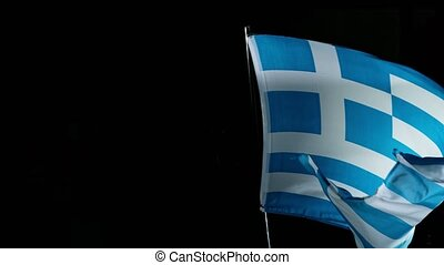 Close up of Greece Flag Waving in Wind. Super Slow Motion.