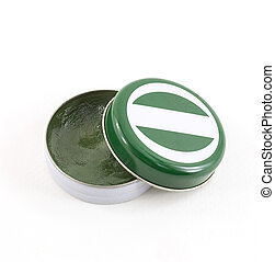 close up of green balm on white background
