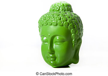 Close-Up of Green Buddha Head on White Background