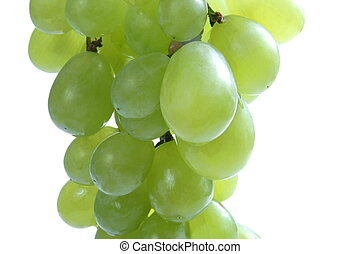 close up of green grape on white background