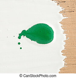 close up of green paint drops on white background