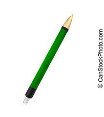 Close up of green pen isolated