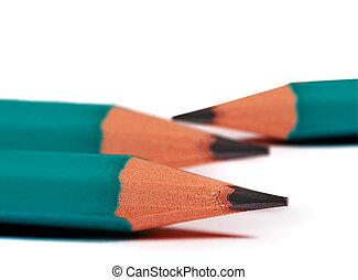 close up of green pencils